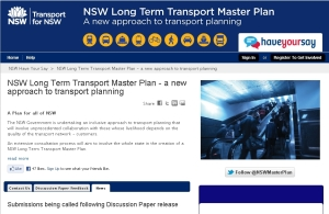 NSW Transport Master Plan opens for submissions