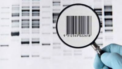 GS1 barcode under magnifying glass