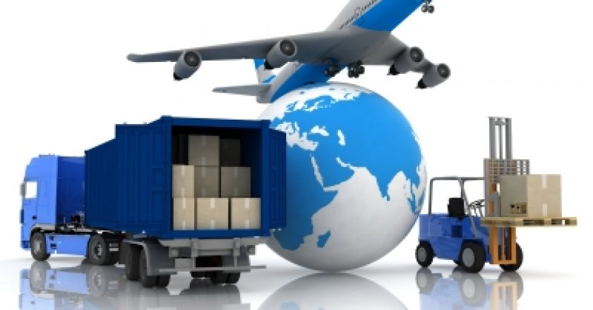 logistics growth illustrated with airliner with a globe and autoloader with boxes in a container