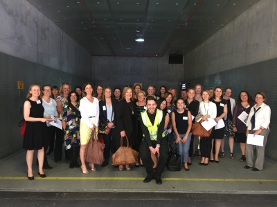 Networking lunch and site visit for Women in Supply Chain event participants and Shannon Donaghey, Emporium's dock master in Emporium's lift.