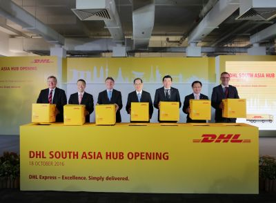 Opening the new facility were (L-R) Charlie Dobbie, EVP Global Network Operations, IT & Aviation, DHL Express; Ken Lee, CEO, DHL Express Asia Pacific: Ken Allen, CEO, DHL Express; Lim Hng Kiang, Singapore Minister for Trade and Industry (Trade); Lee Seow Hiang, CEO, Changi Airport Group; Yam Kum Weng, EVP of Airport Development, Changi Airport Group; Frank-Uwe Ungerer, SVP & Managing Director, DHL Express Singapore.