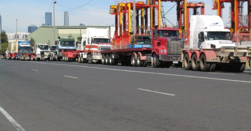 Port of Melbourne container truck queue