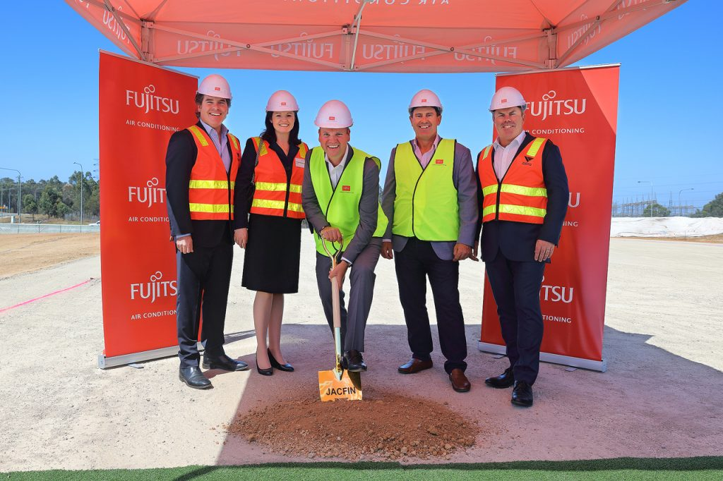 (L–R) Ray Waterhouse (Jacfin), Priscilla Waterhouse (Jacfin), Philip Perham (Fujitsu General Australia), Mark Taylor (Fujitsu General Australia) and Andrew Noble (Vaughan Constructions) at the sod-turning ceremony on 15 February 2018.