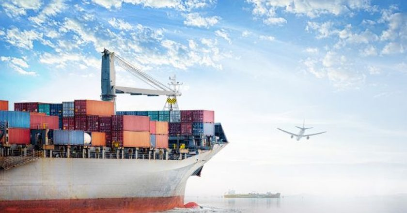 Digital forwarders Logistics and transportation of International Container Cargo ship and cargo plane in the ocean at Sunset sky, Freight Transportation, Shipping