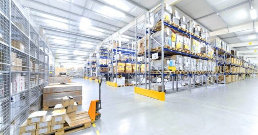 Interior of a warehouse illustrating I4.0 bringing down walls.