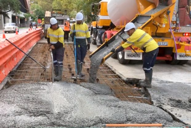 City of Sydney green concrete road trial