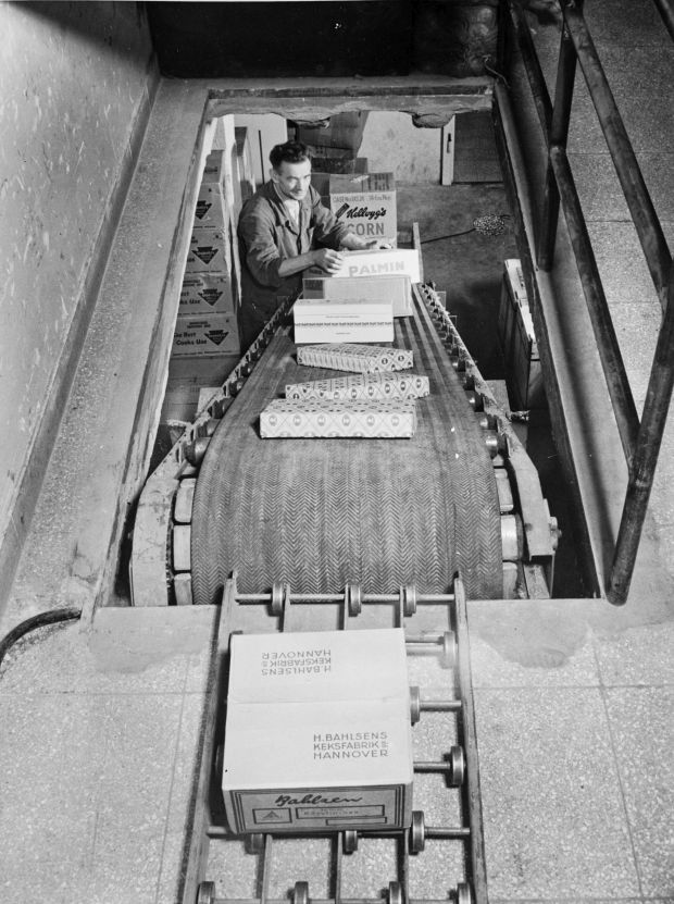 Dematic's grocery conveyor from the 1950s.