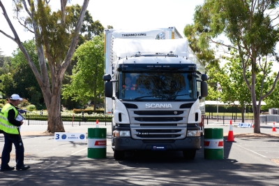 Scania truck driver competition barrels