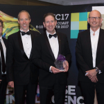 [L–R] Damian Paull, CEO, Franchise Council of Australia; Andrew Mckenna, General Manager, Business and Franchise Development, Fastway Couriers; Tim Reed, CEO, MYOB; Richard Thame, Managing Director, Fastway Couriers; Peter Lipinski, CEO, Fastway Couriers; and Bruce Bilson, FCA Executive Chair.
