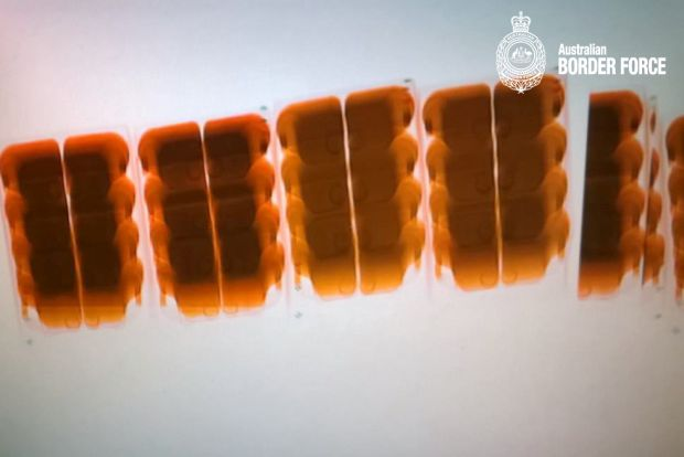 X-ray of some of the 256 litres of GBL detected by ABF officers in Sydney.